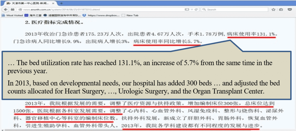 … The bed utilization rate has reached 131.1%, an increase of 5.7% from the same time in the previous year. In 2013, based on developmental needs, our hospital has added 300 beds … and adjusted the bed counts allocated for Heart Surgery, …, Urologic Surgery, and the Organ Transplant Center.