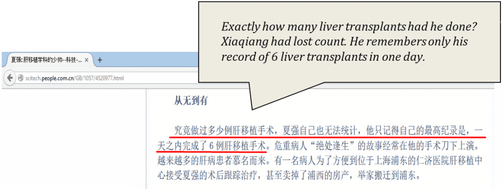 Exactly how many liver transplants had he done? Xiaqiang had lost count. He remembers only his record of 6 liver transplants in one day.
