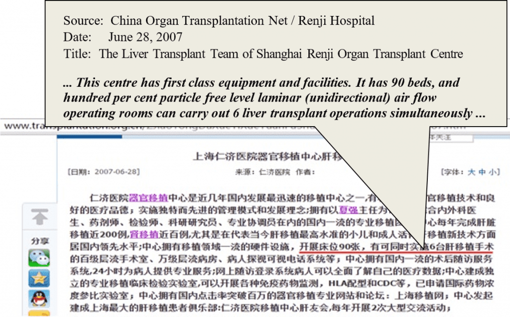 Source: China Organ Transplantation Net / Renji Hospital Date: June 28, 2007 Title: The Liver Transplant Team of Shanghai Renji Organ Transplant Centre ... This centre has first class equipment and facilities. It has 90 beds, and hundred per cent particle free level laminar (unidirectional) air flow operating rooms can carry out 6 liver transplant operations simultaneously ...